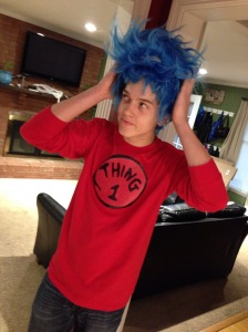 "Thing 1 makes sure his hair is ""just right."""